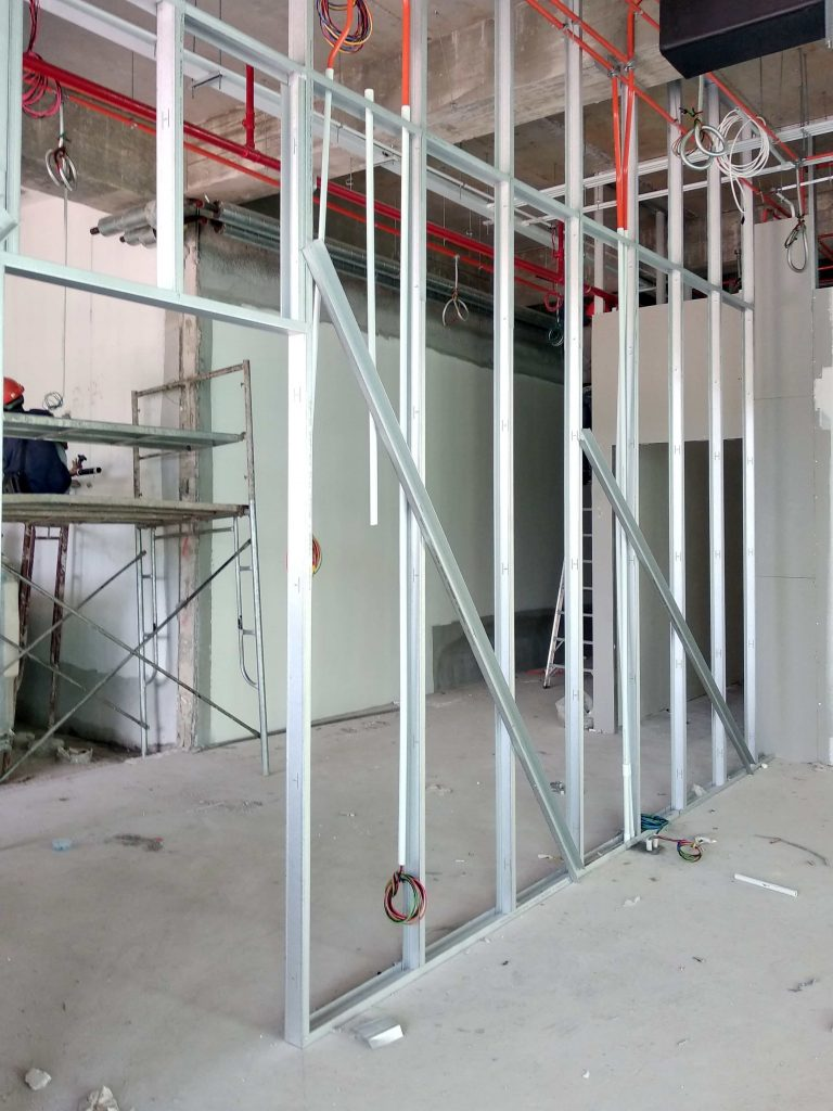 Block of unit steel framing. Gyprock framing plastering